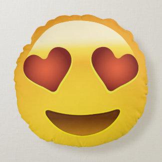 Le ansikte med hjärtformade ögon Emoji Rund Kudde