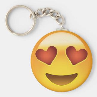 Le ansikte med hjärtformade ögon Emoji Rund Nyckelring