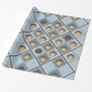 Le apor mönster, pojke, blått presentpapper
