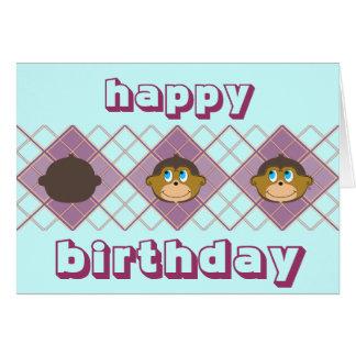 Le apor, personlig, flicka födelsedag hälsningskort