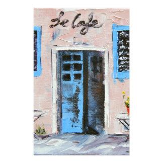 Le Cafe, palettknivarmålning i olja Brevpapper