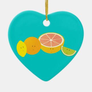 Le citrusfrukt julgransprydnad keramik
