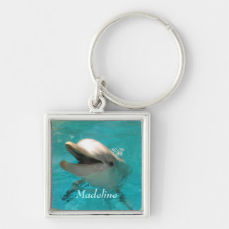 Le delfinen fyrkantig silverfärgad nyckelring