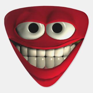 Le den röda emoticonen plektrum