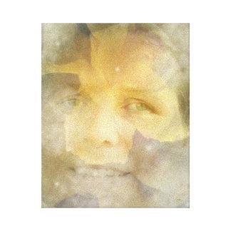 Le gul rosfantasiblommigt canvastryck