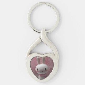 Le kanin Keychain Twisted Heart Silverfärgad Nyckelring