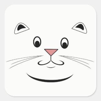 Le kattungeansikte fyrkantigt klistermärke