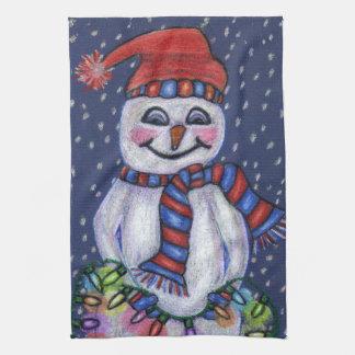 Le ljus för jul för snö för snögubbehattScarf Kökshandduk