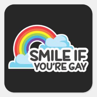 Le, om du är glad pride för regnbåge LGBT Fyrkantigt Klistermärke