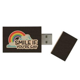 Le, om du är glad pride för regnbåge LGBT Trä USB-minne