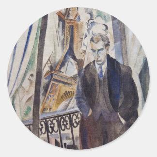 Le Poète Philippe Soupault av Robert Delaunay 1922 Runt Klistermärke
