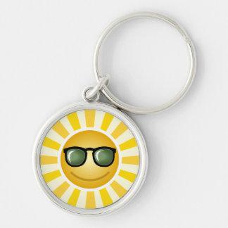 Le solen rund silverfärgad nyckelring