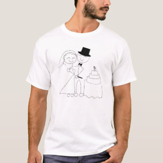 Le stick figur koppla ihop snitt bröllopstårtan tshirts