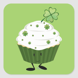 Le Sts Patrick dagmuffin Fyrkantigt Klistermärke