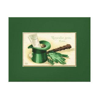 Leda i rör gröna top hathandskar för vintage canvastryck