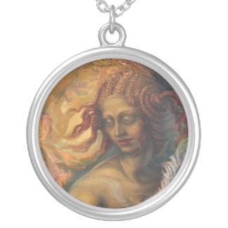 Leda och svanhänget silverpläterat halsband