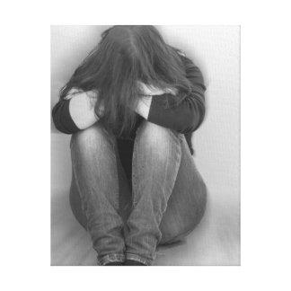 ledsen flicka canvastryck