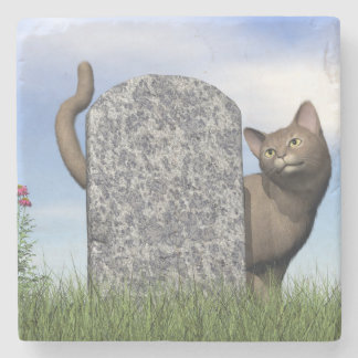 Ledsen katt nära gravstenen stenunderlägg