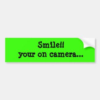 Leende!! din på kamera…, Bumber klistermärke Bildekal