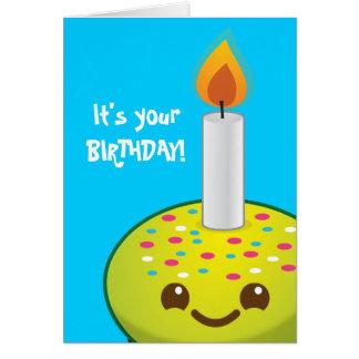 leenden för cutiemuffingrattis på födelsedagen hälsningskort