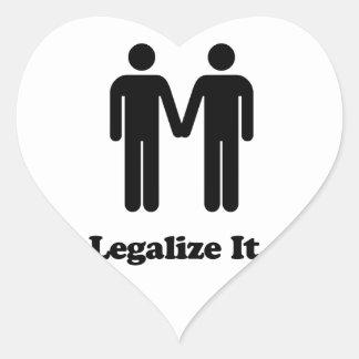 Legaliseraa det - giftermåljämställdhet hjärtformat klistermärke