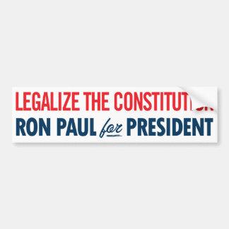 Legaliseraa Ron Paul konstitutionbildekalet Bildekal