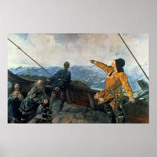Leif Eriksson siktar landar i Amerika, 1893 Poster