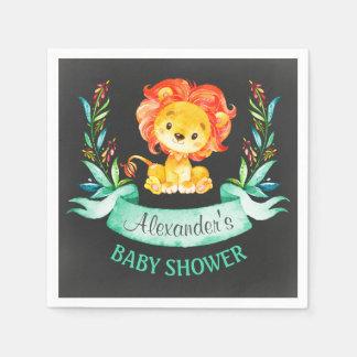 Lejon baby shower för svart tavlavattenfärg papper servetter