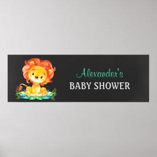 Lejon baby shower för svart tavlavattenfärg poster