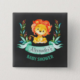 Lejon baby shower för svart tavlavattenfärg standard kanpp fyrkantig 5.1 cm