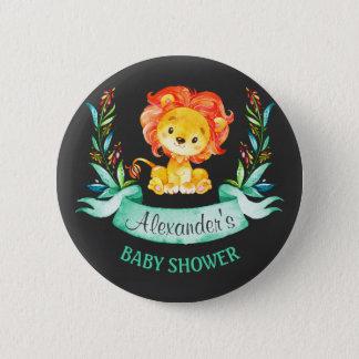Lejon baby shower för svart tavlavattenfärg standard knapp rund 5.7 cm