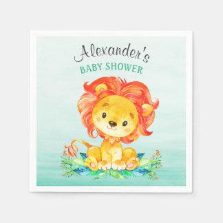 Lejon baby shower för vattenfärg servett