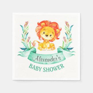 Lejon baby shower för vattenfärg servetter