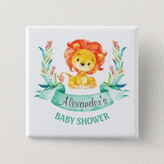 Lejon baby shower för vattenfärg standard kanpp fyrkantig 5.1 cm