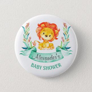 Lejon baby shower för vattenfärg standard knapp rund 5.7 cm