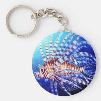 Lejon fisk av Borneo Rund Nyckelring