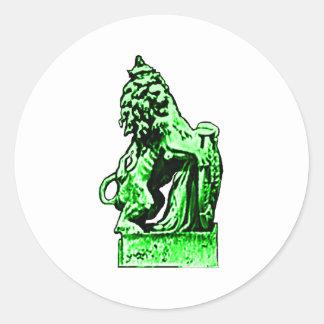 Lejon grönt för brittisk Emblem de MUSEUMZazzle Runda Klistermärken