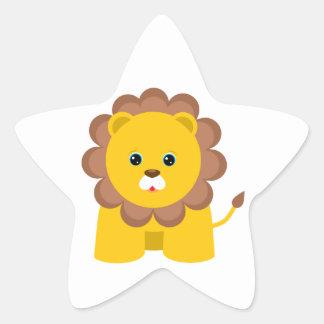Lejon gullig baby stjärnformat klistermärke
