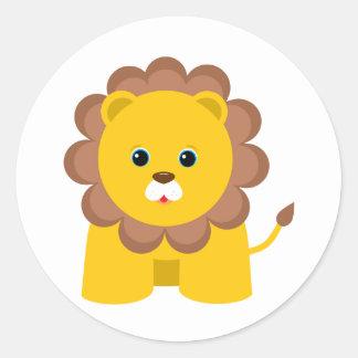 Lejon gullig baby runt klistermärke
