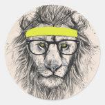 lejon hipster (ljus bakgrund) runda klistermärken