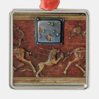 Lejon jakt, platta från en Byzantinecasket, 11th Silverfärgad Fyrkantigt Julgransprydnad