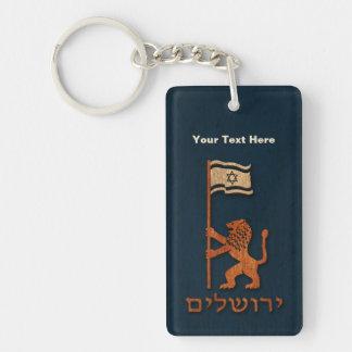 Lejon Jerusalem dag med flagga Nyckelring