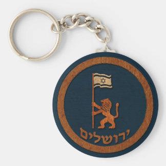 Lejon Jerusalem dag med flagga Rund Nyckelring