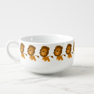 Lejon Kopp för Soppa för gulligt tecknadinnehåll