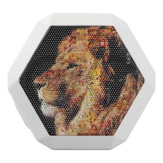 Lejon - lejon collage - lejon mosaik för vild - vit bluetooth högtalare