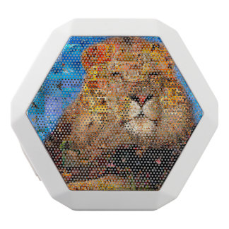 lejon - lejon collage - lejon mosaik - lejon vild vit bluetooth högtalare