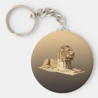 Lejon sten rund nyckelring