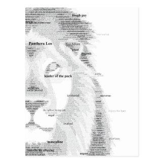 Lejon typografi vykort