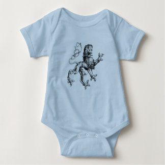 Lejon vapensköldstil för humoristisk vintage tee shirt