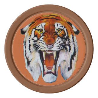 Lejon vilda djur för tigerhuggtänder poker marker